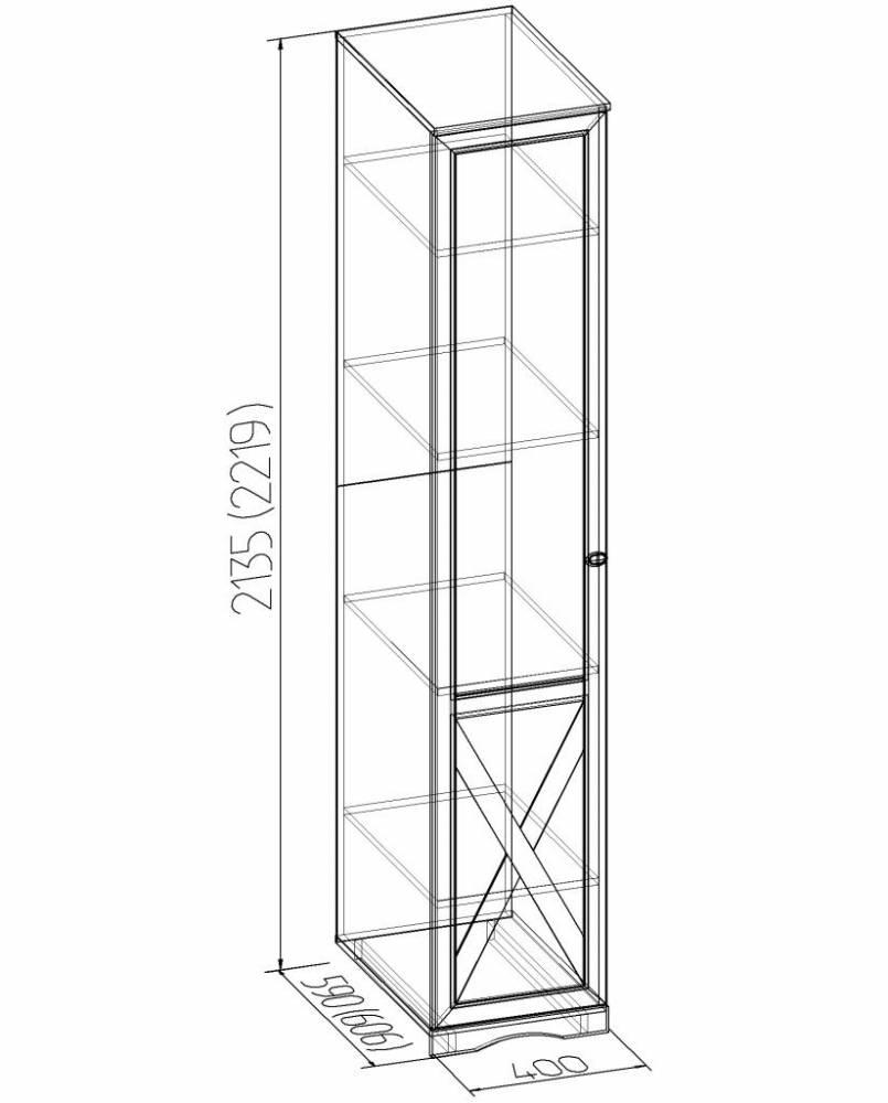 ADELE 7 Шкаф для белья, фасад ПРАВЫЙ, ясень анкор светлый