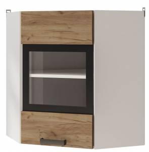 6УВ2 Шкаф настенный  угловой со стеклом Крафт
