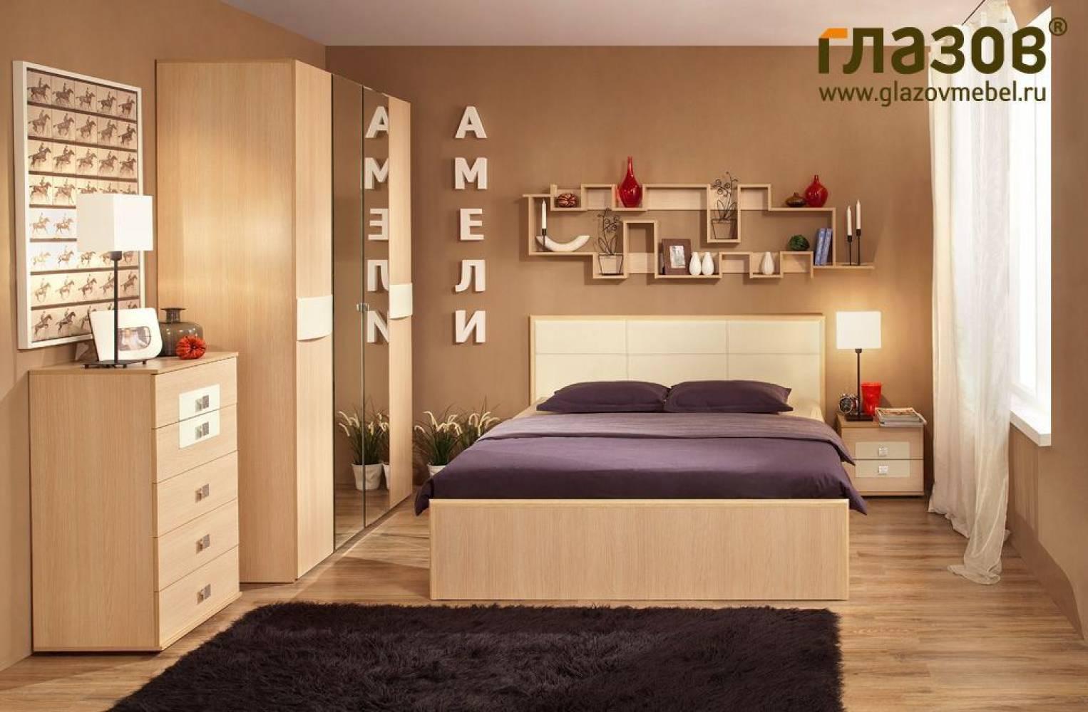 Спальня Амели Компоновка 3. Дуб отбеленный