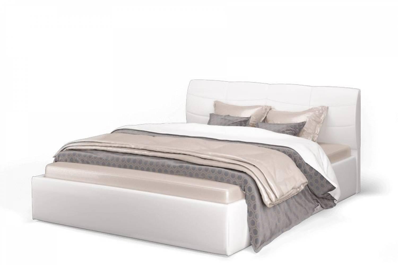 Кровать Ривьера 1600 экокожа vega white