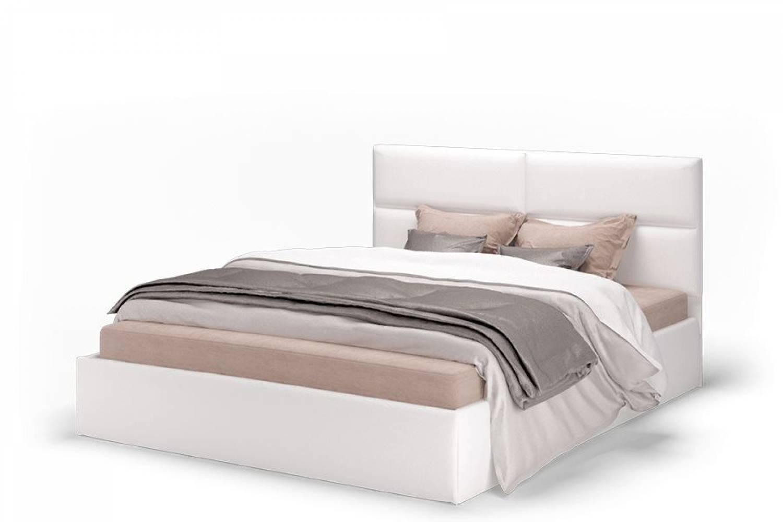Кровать Сити 1600 экокожа vega white