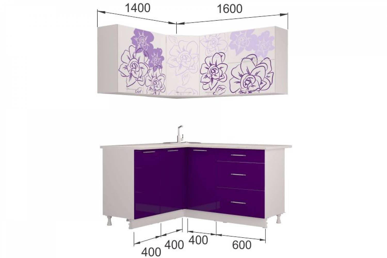 Гарнитур кухонной мебели  Бордо-Виолет угловой 1,4*1,6