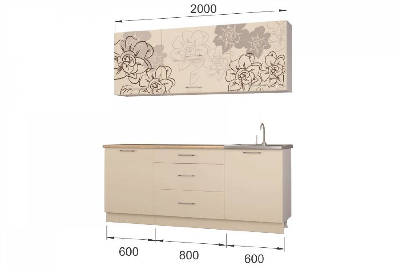 Гарнитур кухонной мебели Бордо-ваниль 2,0 накл.мойка