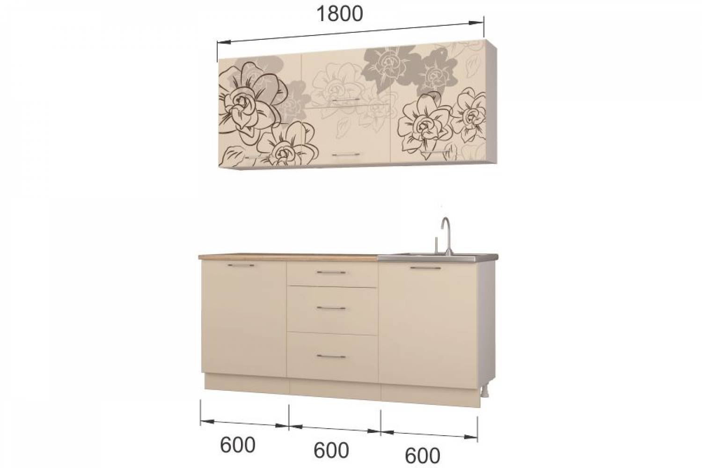 Гарнитур кухонной мебели Бордо-ваниль1,8 накл.мойка