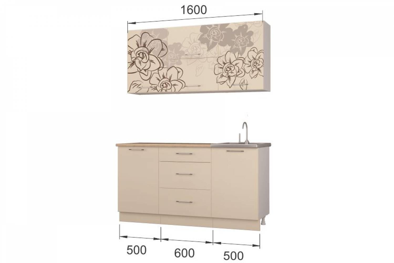 Гарнитур кухонной мебели Бордо-ваниль1,6 накл.мойка