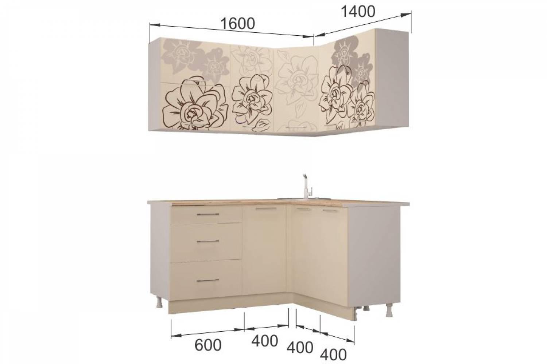 Гарнитур кухонной мебели  Бордо-Ваниль угловой 1,4*1,6