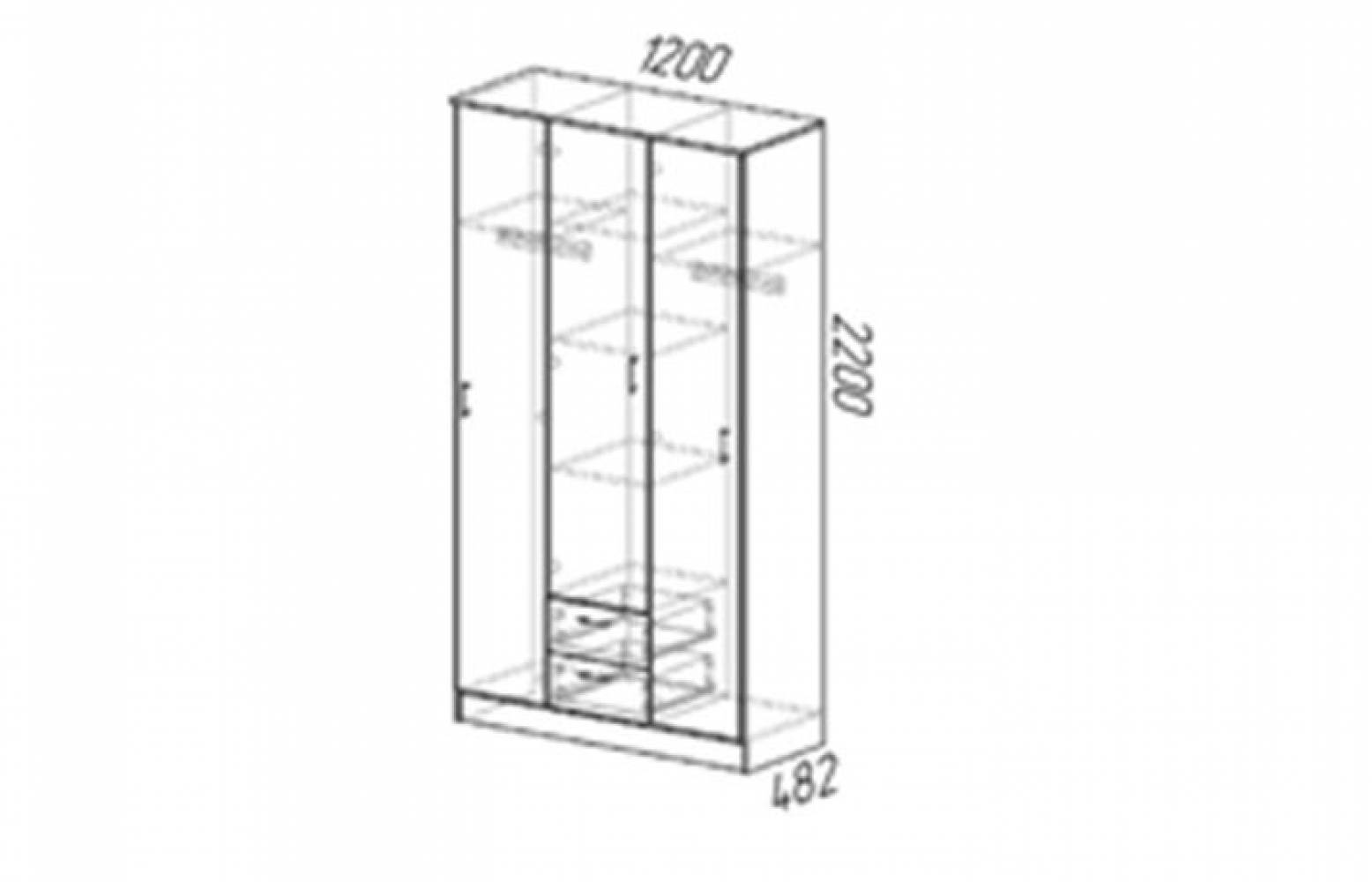 Шкаф 3х дверный ТРИО Венге/лоредо