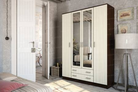 Шкаф 4х дверный КВАДРО Венге/лоредо