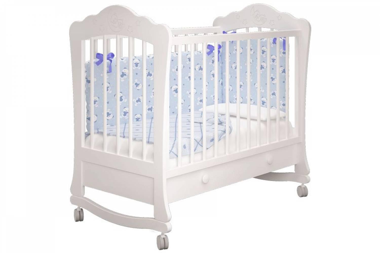 Кроватка детская Амалия 1 1 ящик белый