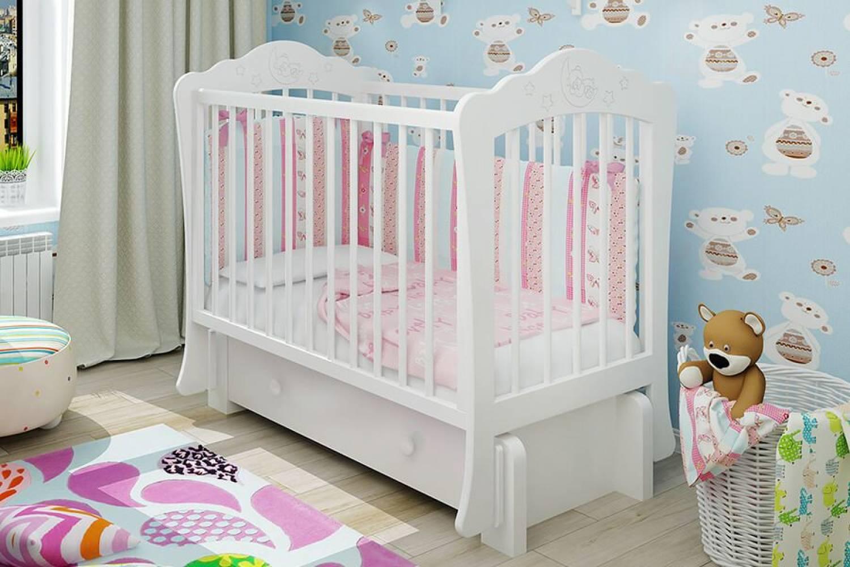 Кроватка детская Амалия 3 маятник + ящик белый