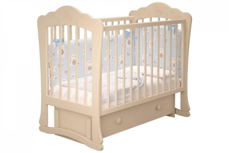 Кроватка детская Амалия 3 маятник + ящик слоновая кость