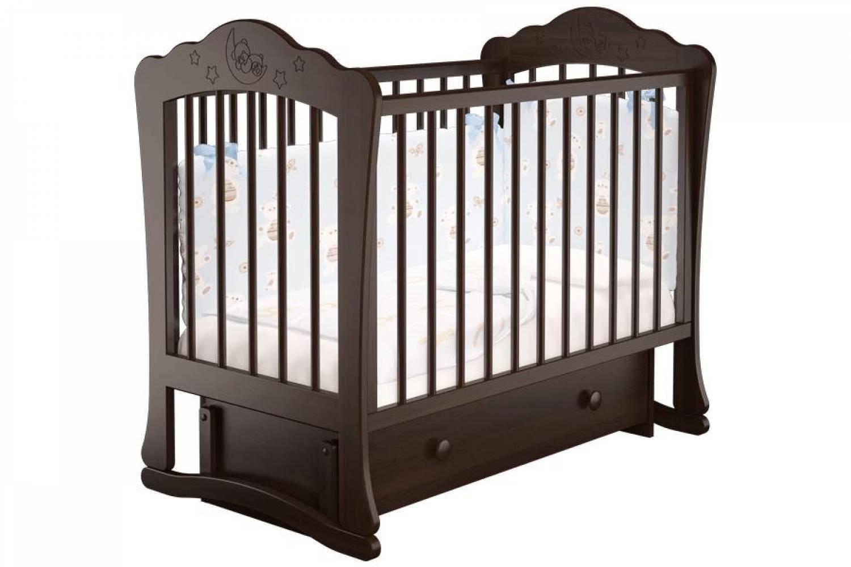 Кроватка детская Амалия 3 маятник + ящик шоколад