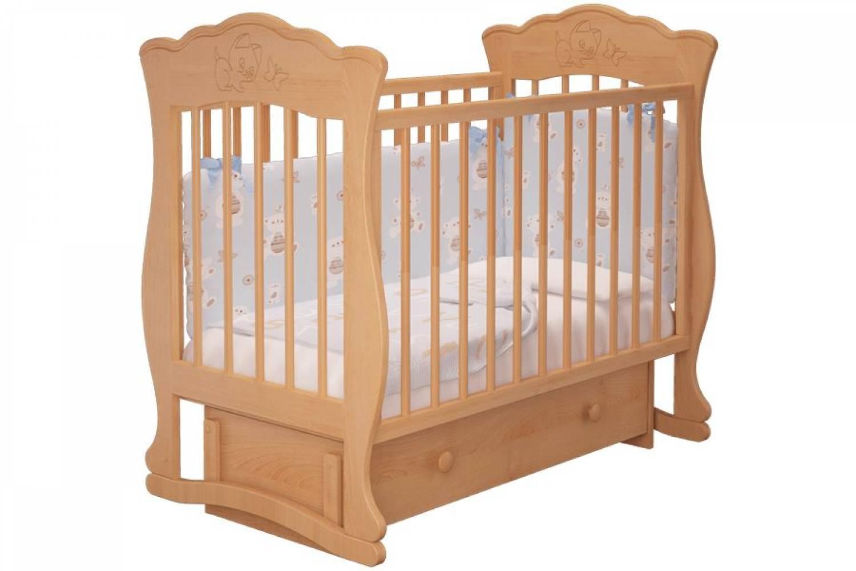 Кроватка детская Елена 3 маятник + ящик бук