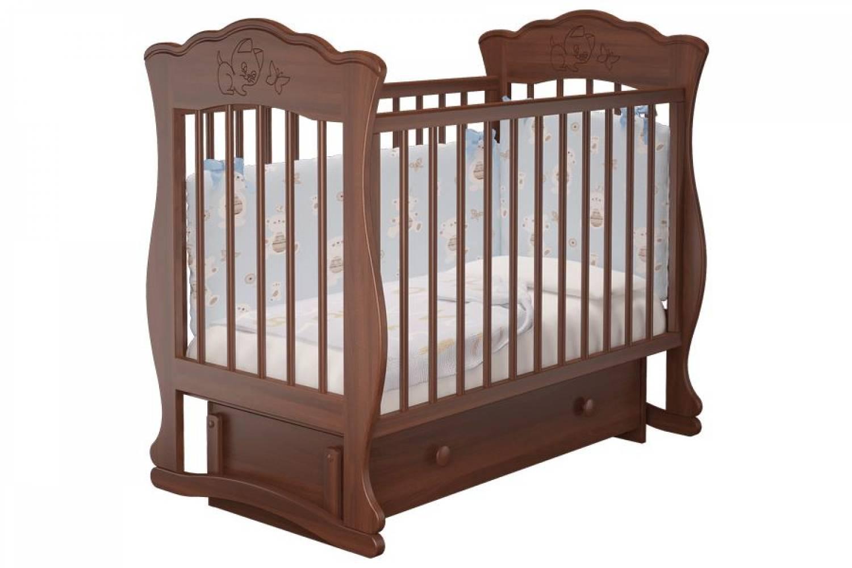 Кроватка детская Елена 3 маятник + ящик орех