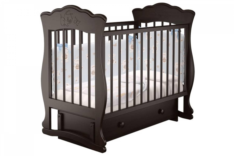 Кроватка детская Елена 3 маятник + ящик шоколад