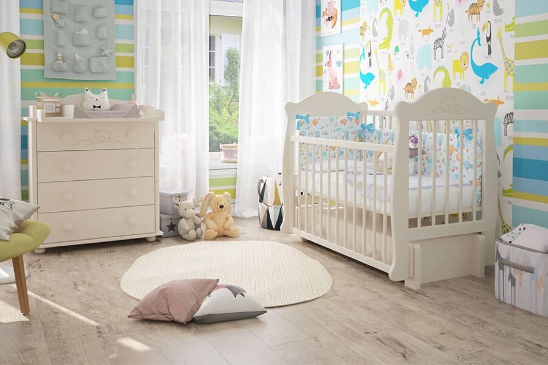 Кроватка детская Мишутка 3 маятник + ящик слоновая кость
