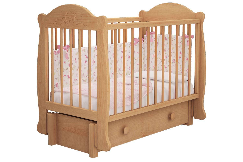 Кроватка детская Мишутка 3 маятник + ящик бук