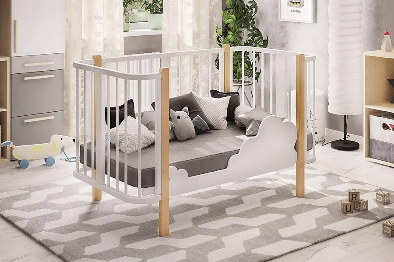 Кровать деревянная детская Оливия базовая белый/бук