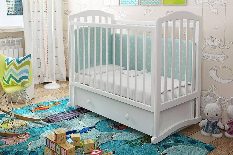 Кроватка детская Пикколо 3 маятник + ящик белый