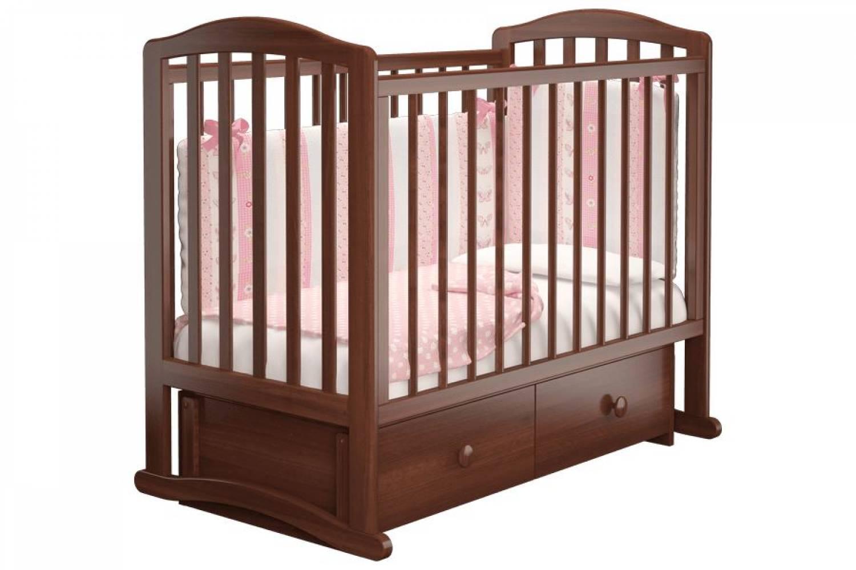 Кроватка детская Пикколо 3 маятник + ящик орех