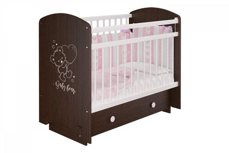 Кровать деревянная детская Эмили венге/мишка