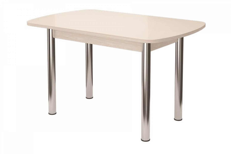 Стол обеденный Бостон-2 Белый глянец 1100*700ов.(мет. опора)