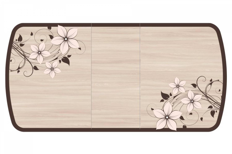 Стол раздвижнойБостон-3 с цельной вставкой 1100*700 опора триумфцветы фотопечать
