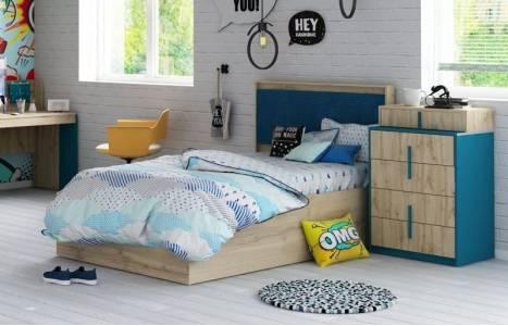 МАЙАМИ мод.№12М Кровать (Дуб ирландский/Синий)