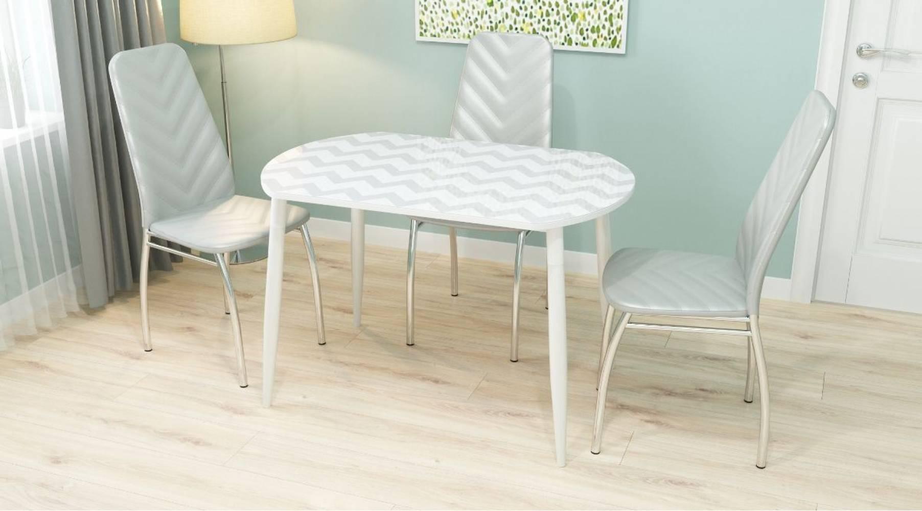 Стол обеденный Ева белый стол-ца пластик