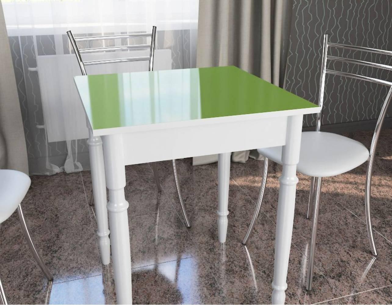 Стол квадратный белый+зеленое яблоко