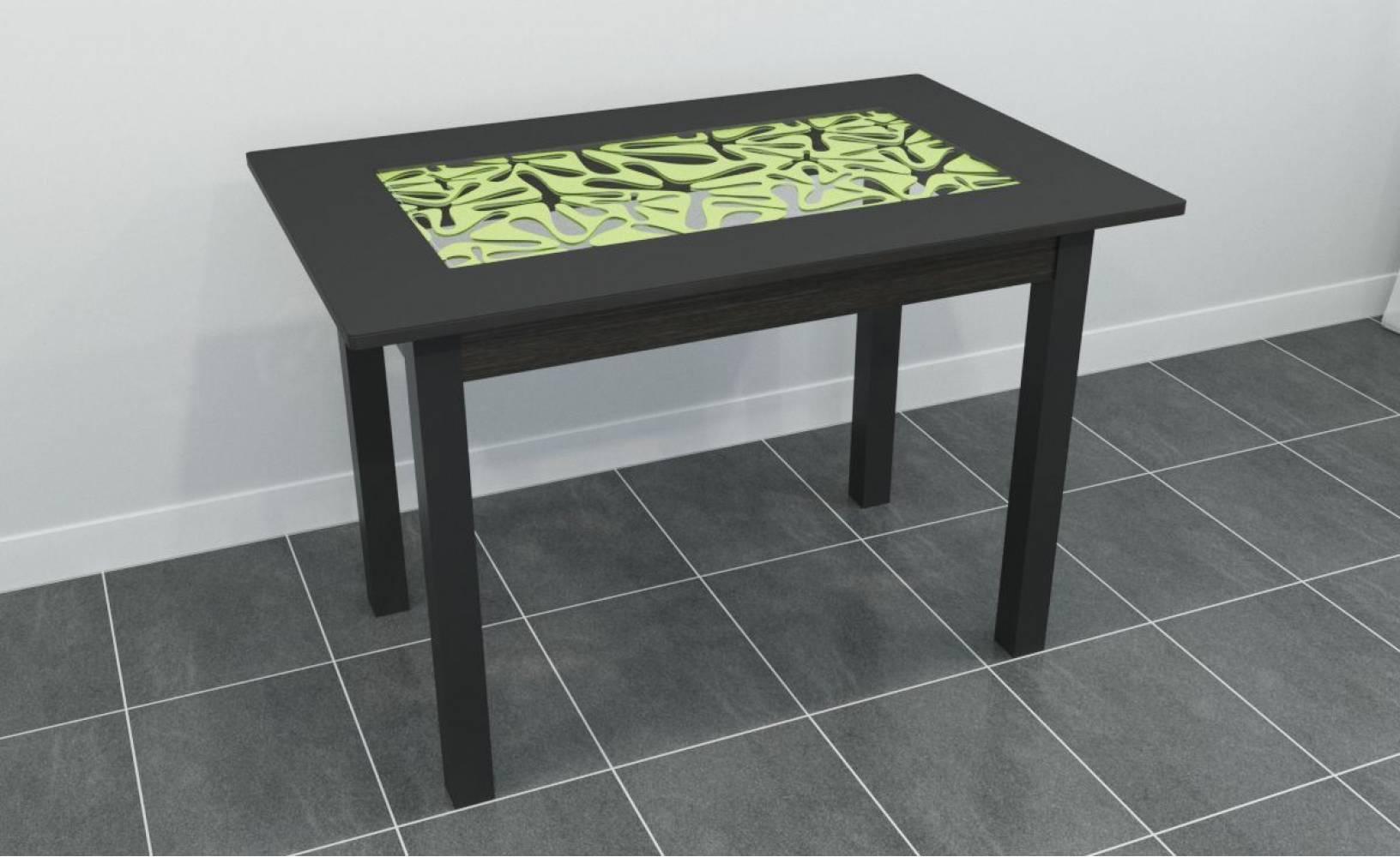 Стол ажурный прямоугольный черный+лайм