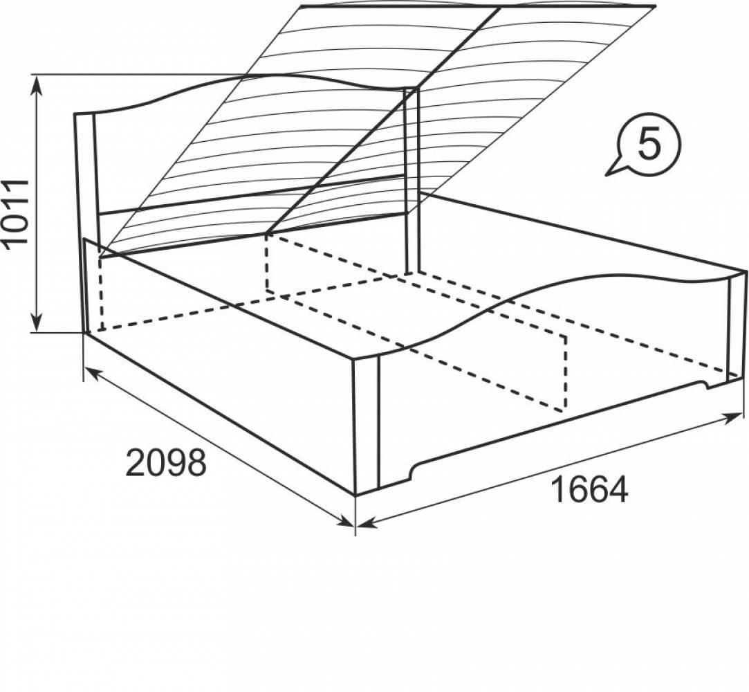 05 Кровать 160*200 см с подъемным механизмом, без матраса Виктория