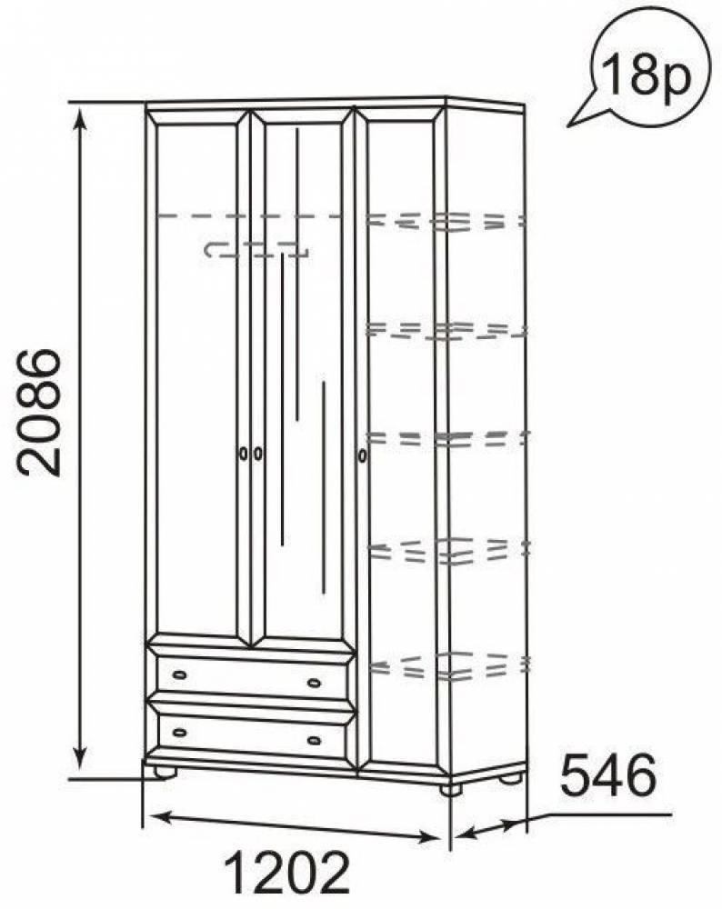 18Р Ника-Люкс Шкаф для одежды 3-х дверный