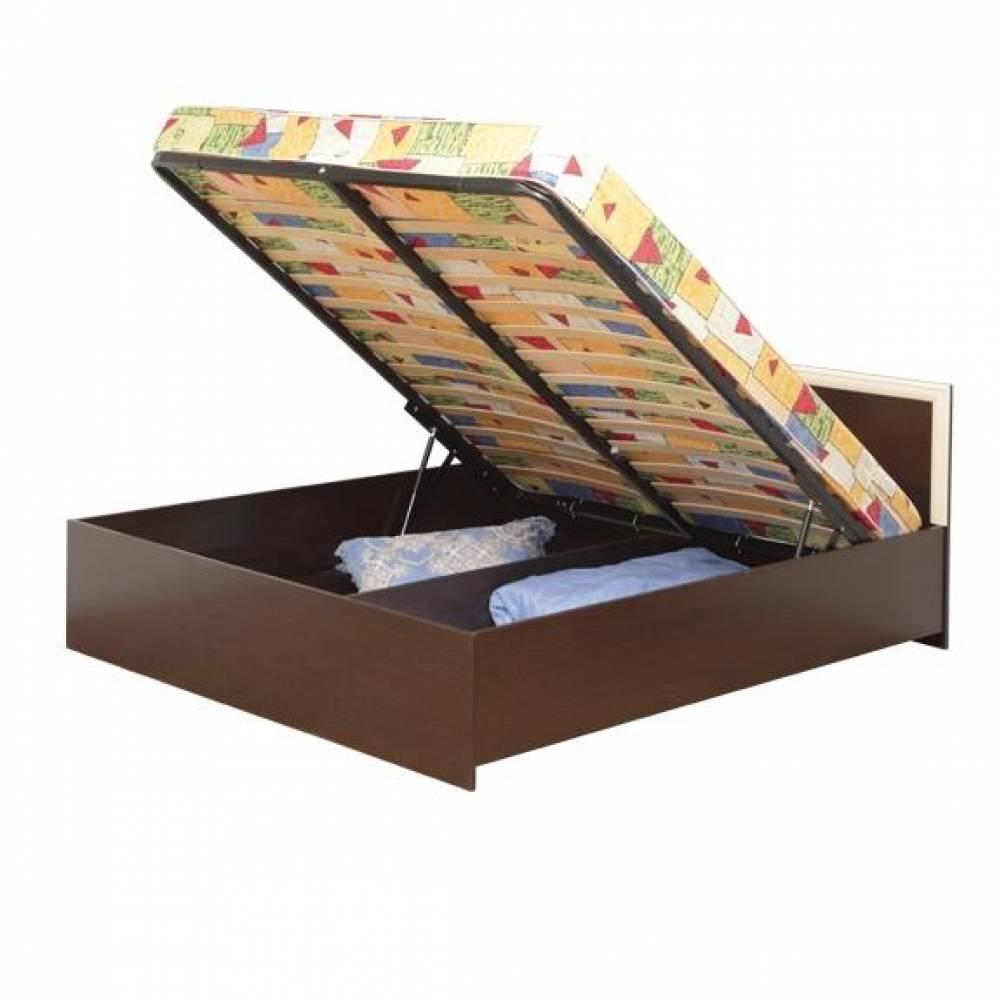 Кровать двойная с откидным механизмом (Венге/Дуб Линдберг) Олмеко