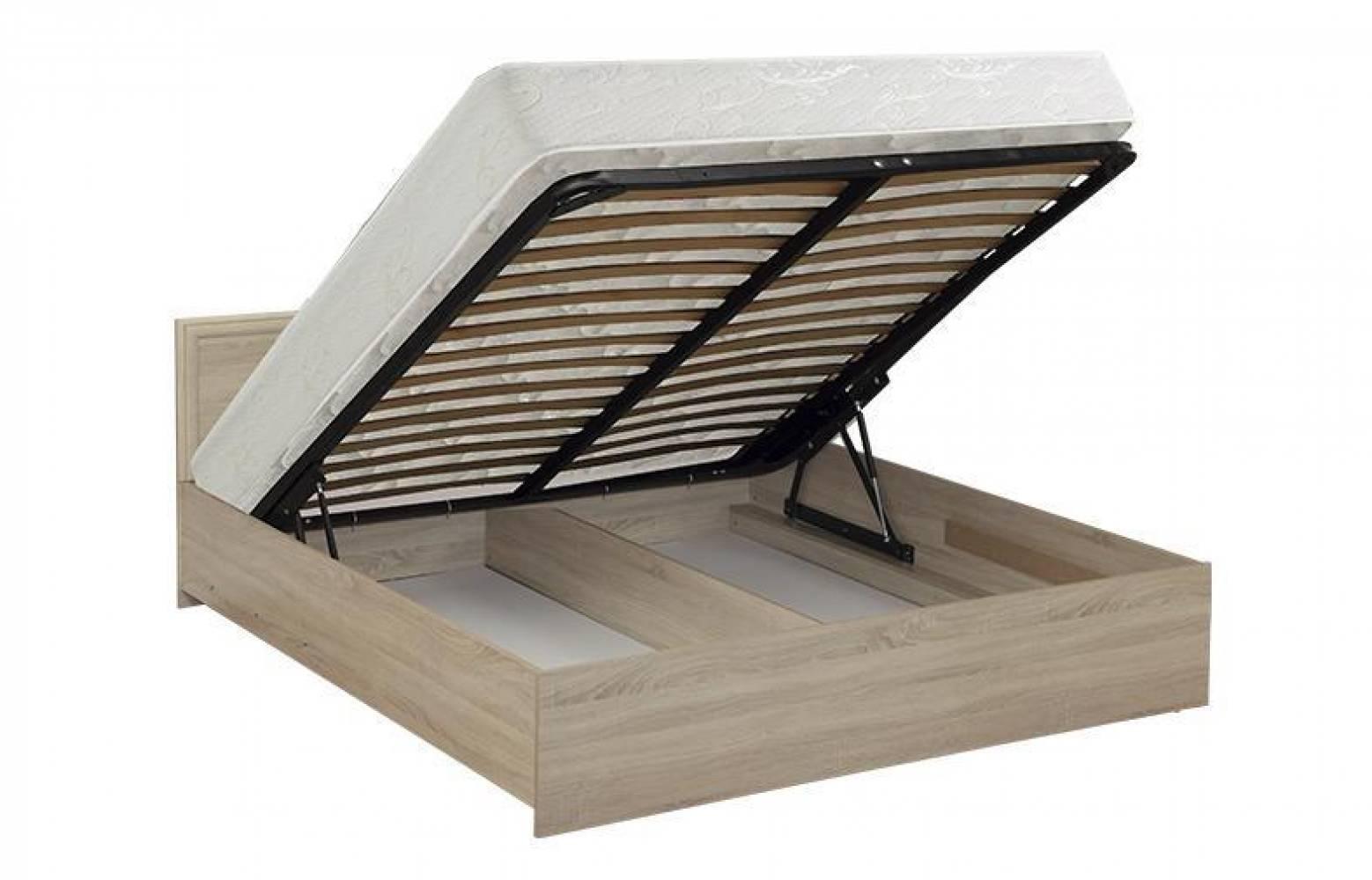 Кровать двойная с откидным механизмом (Дуб Сонома) Олмеко