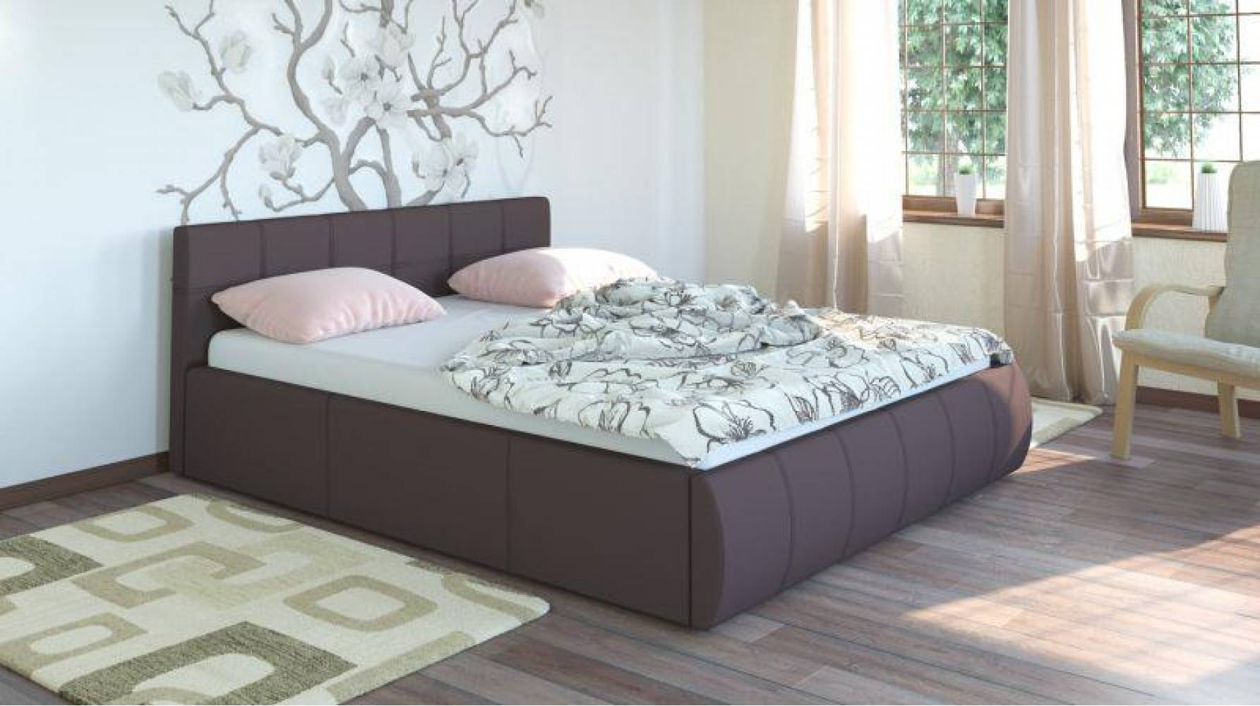 Кровать 1600 с подъемным механизмом АФИНА (Гранд Шоколад) Нижегородмебель
