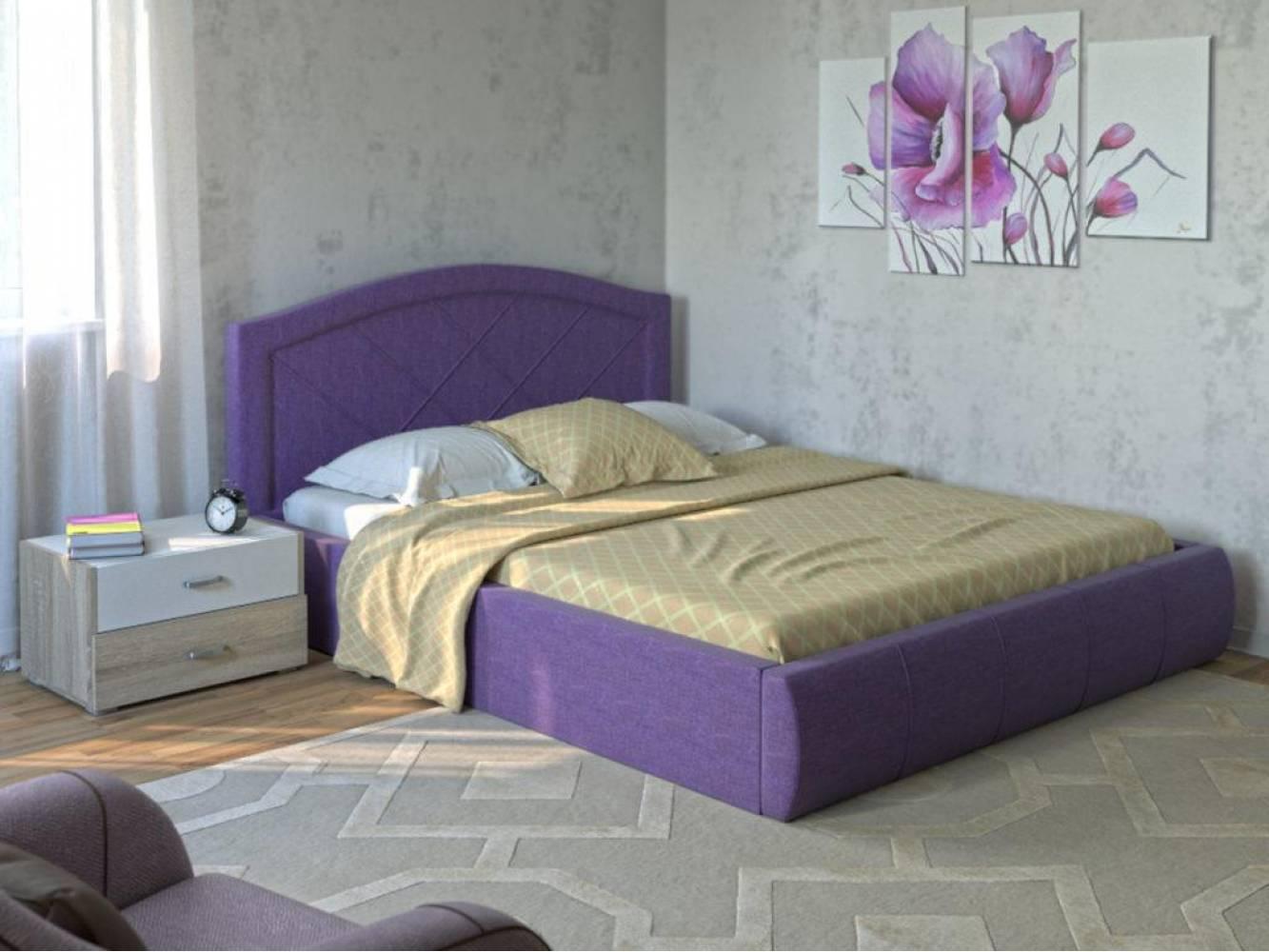 Кровать 1600 с подъемным механизмом ВИГО (Савана Виолет) Нижегородмебель
