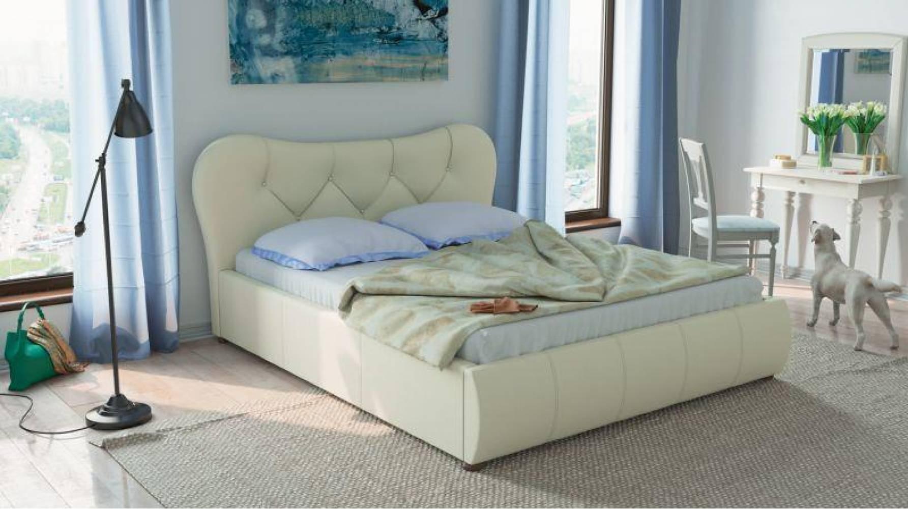 Кровать 1600 с подъемным механизмом ЛАВИТА (Гранд Белый) Нижегородмебель