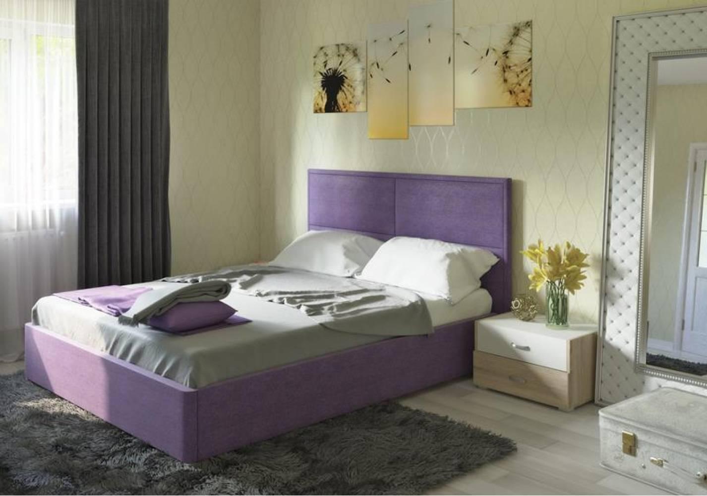 Кровать 1600 с подъемным механизмом ПРАГА (Савана Виолет) Нижегородмебель