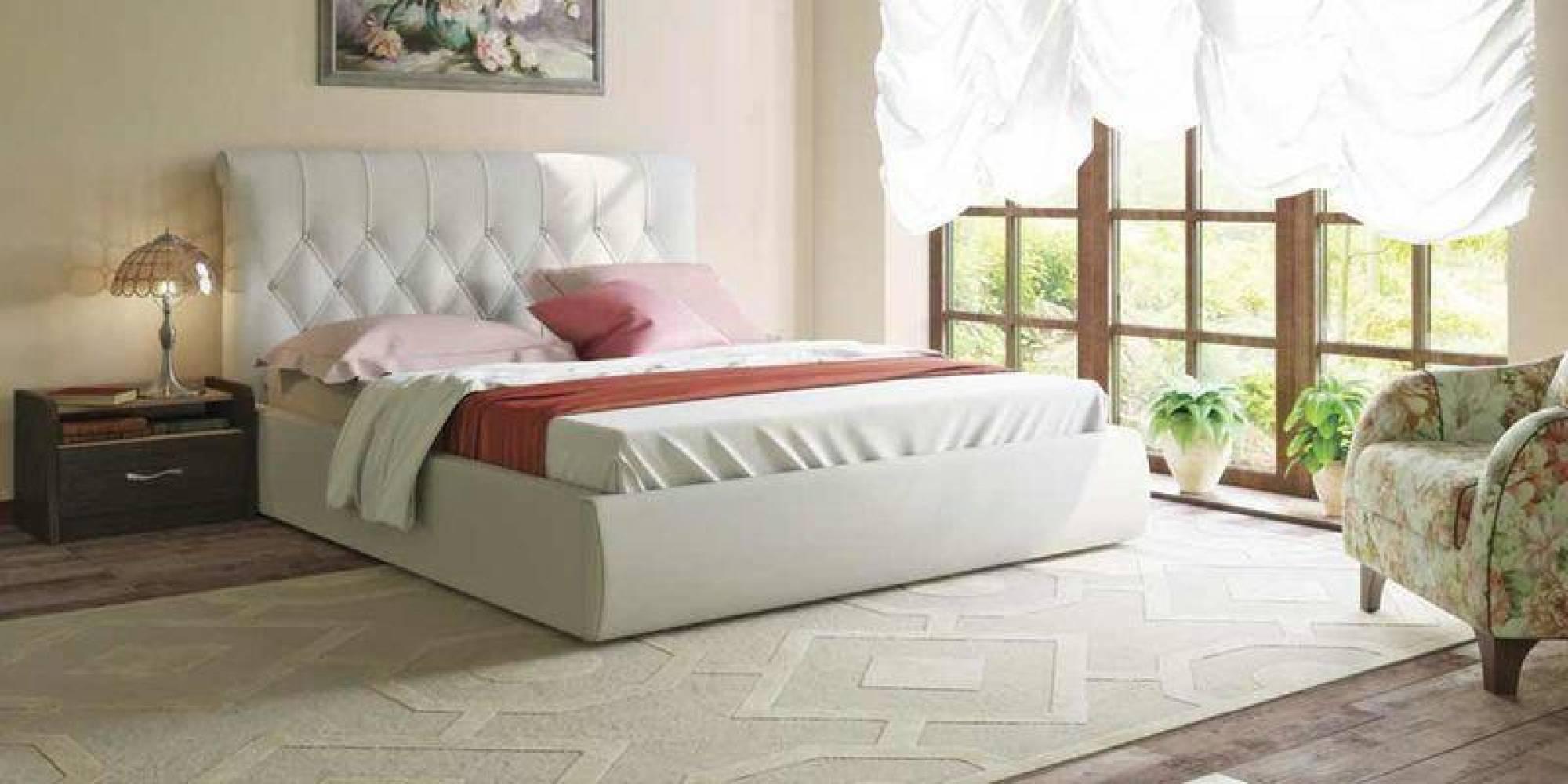 Кровать 1600 с подъемным механизмом ТИФФАНИ (Гранд Белый) Нижегородмебель