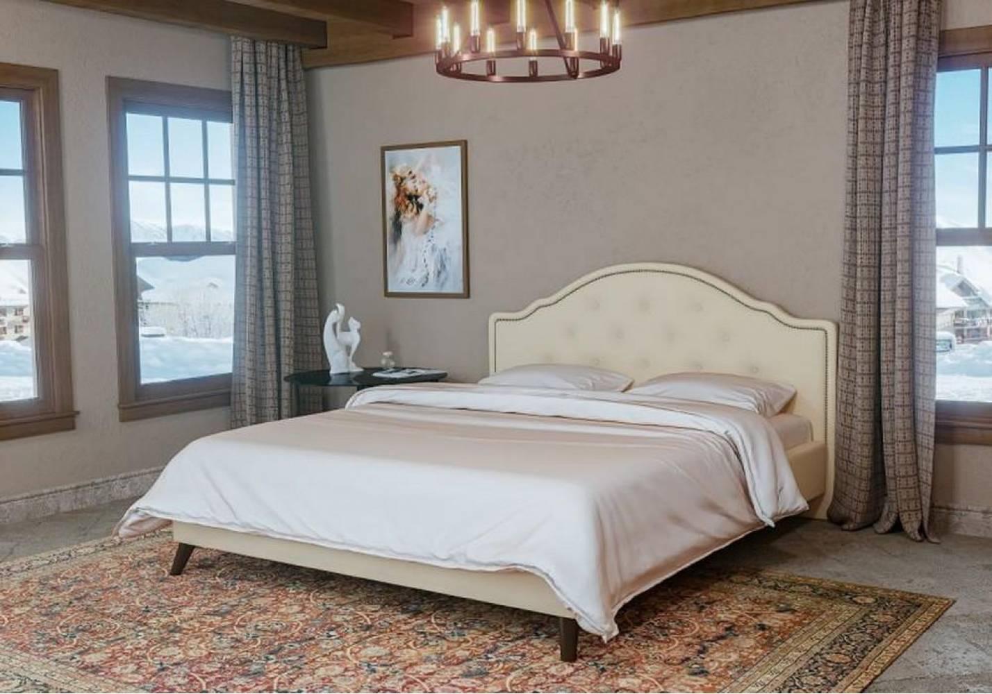 Кровать 1600 с ортопедическим основанием ЭСКАДА (Лекко Лайт Беж) Нижегородмебель