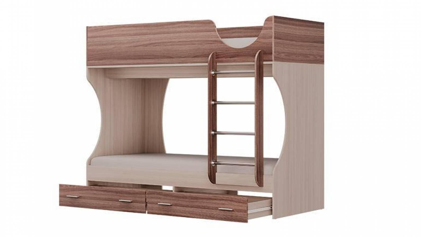 Кровать двухъярусная Д2 (Ясень Шимо светлый/Ясень Шимо темный) Олмеко
