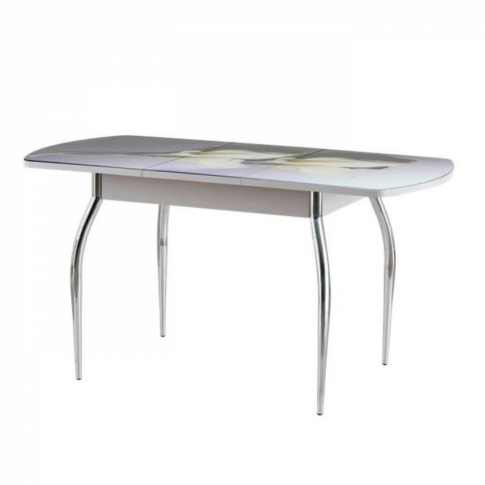 Стол раскладной ВЕГАС(1100х700) опора прямая хром ,стол-ца стекло фотопечать Delice