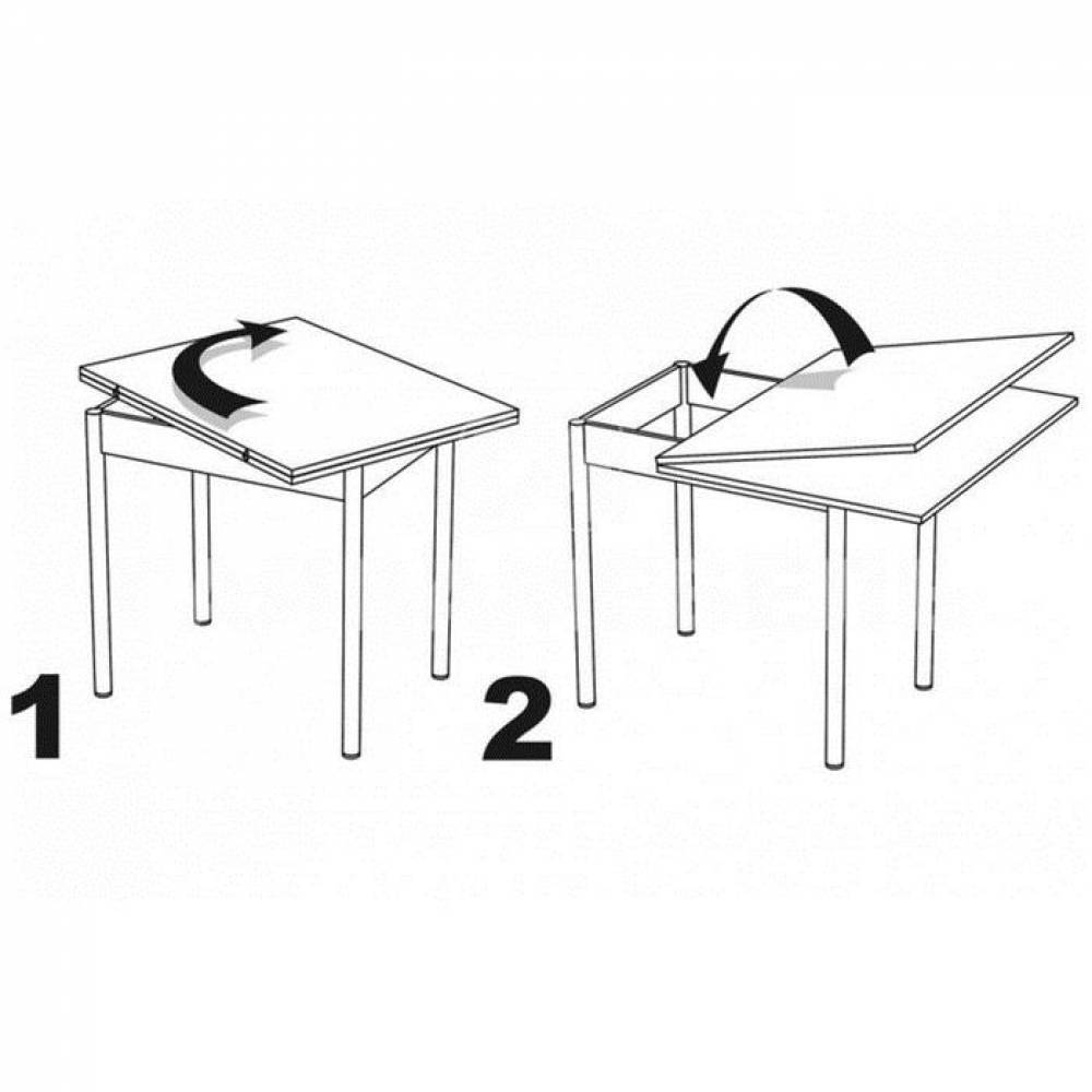 Стол поворотно-откидной ПИРУЭТ с конусной крашеной опорой (Венге) Delice
