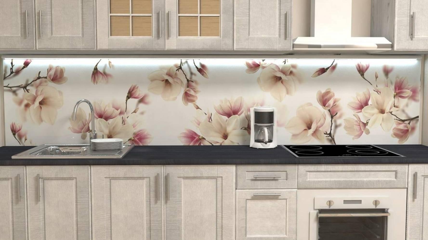 Кухонная панель F-25 Магнолии Глянцевая ALDIO