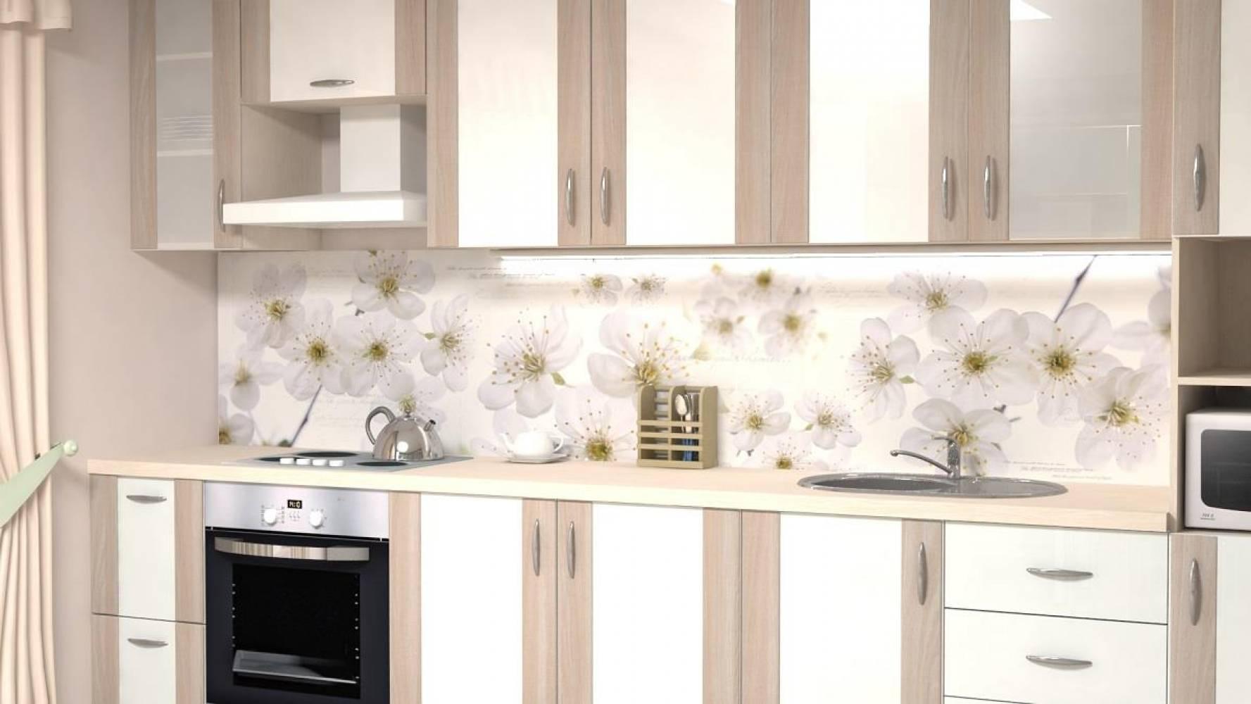 Кухонная панель F-33 Цветущая вишня Глянцевая ALDIO
