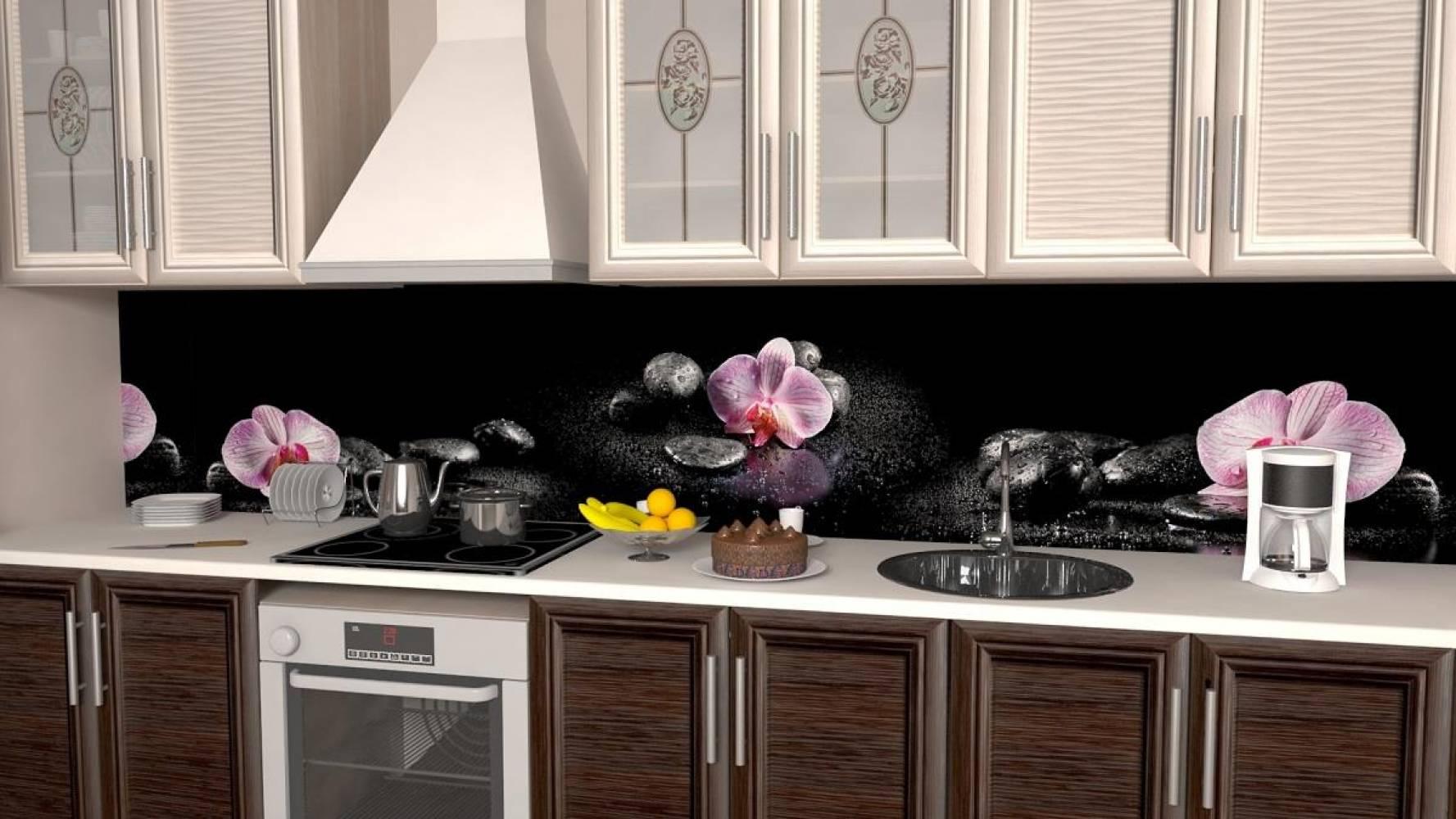Кухонная панель AF-30 Орхидеи на камнях Глянцевая ALDIO