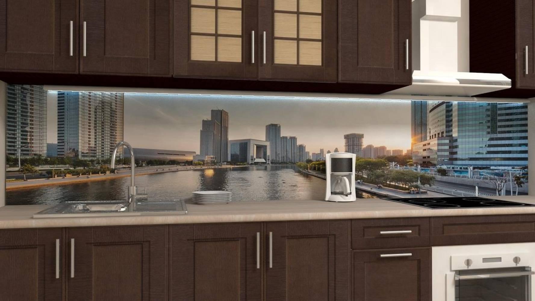 Кухонная панель AF-43 Мегаполис Глянцевая ALDIO
