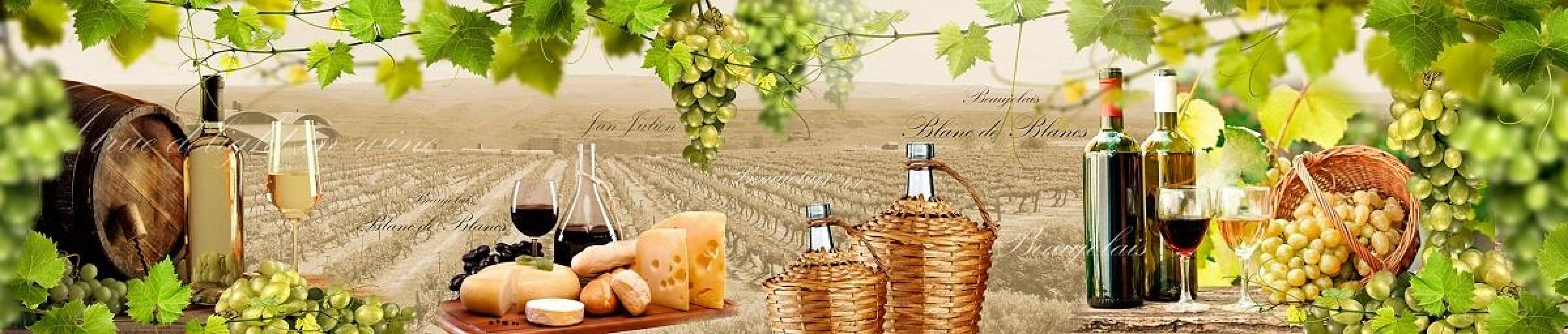 Кухонная панель AF-47 Вино и сыр Глянцевая ALDIO