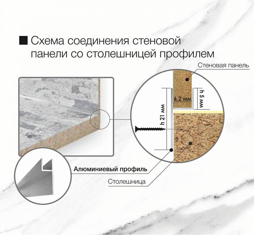Планка соединительная для столешницы и стеновой панели ALBICO
